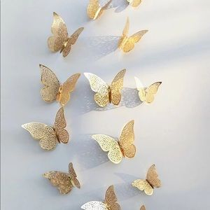 Butterfly Decor Stickers in Gold Set of 12